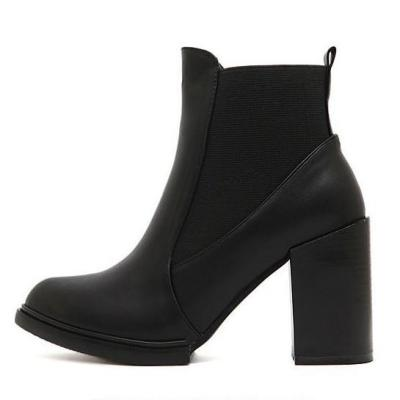 Pointed Toe Chunky Heels Ankle Boots 1423