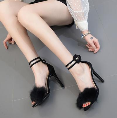 High Heel Stiletto Snake Fur Sandals