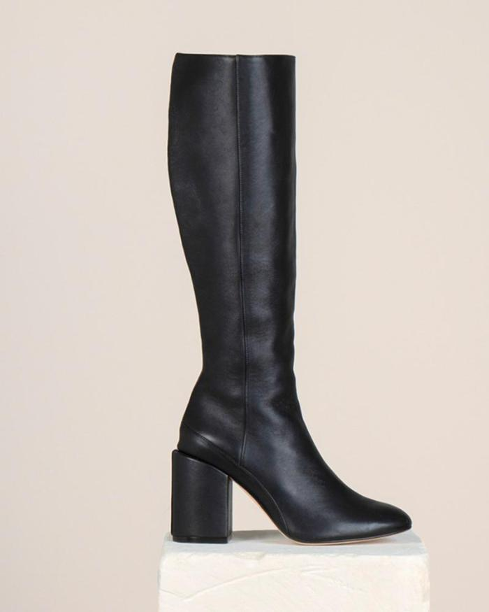 Faux Leather Chunky Knee High Boots