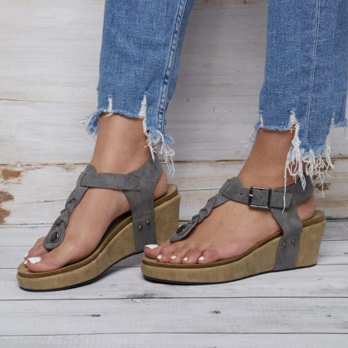 Women Comfortable Flip Flops Wedge Buckle Sandals