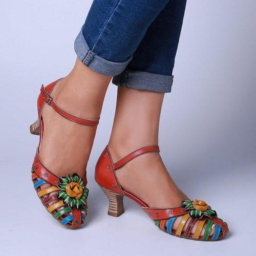 Spool Heel Fisherman Sandals Elegant Floral Colorful Sandals