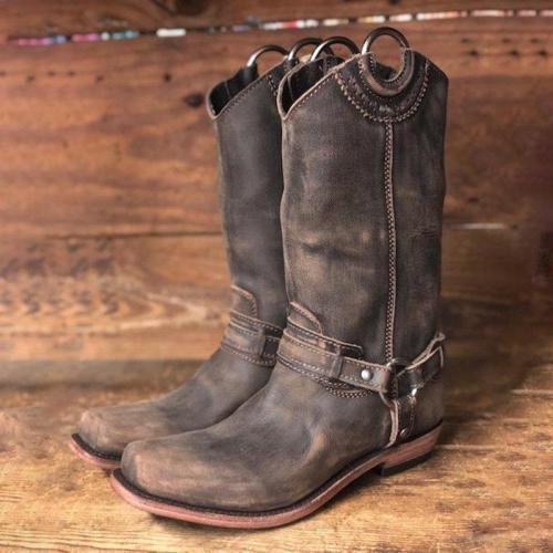 Women Slide Round Toe Casual Chunky Heel Pu Spring/fall Mid-Calf Boots