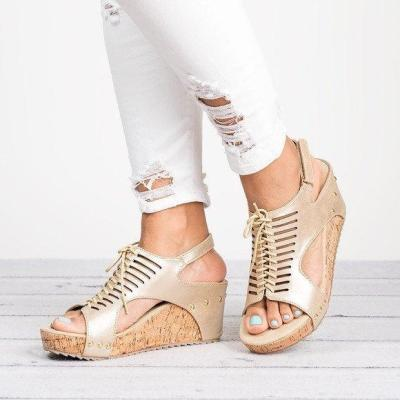 Plus Size Wedge Sandals Gold Lace up with Blocking Hook-Loop