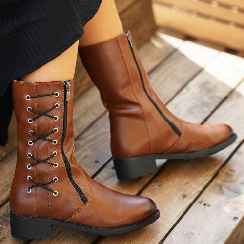 Plus Size Leather Zipper Chunky Heel Cross Strap Mid Riding Boots