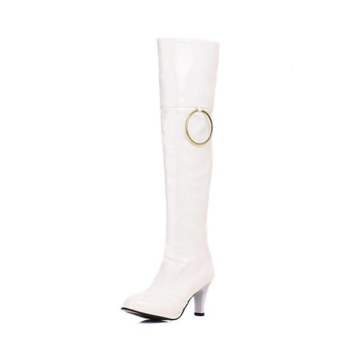 Metal Circle Patent Leather Knee High Boots High Heels Shoes for Woman 2754