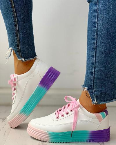Colorblock Striped Lace-Up PU Sneakers