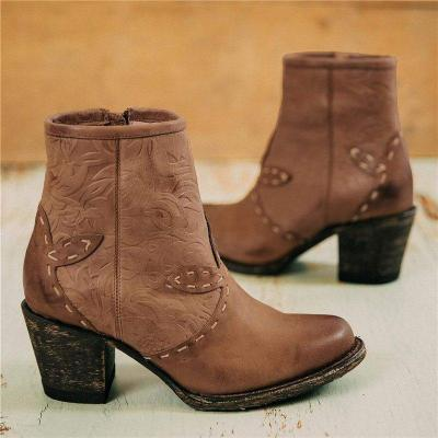 Women Vintage Texture Daily Chunky Heel Ankle Boots