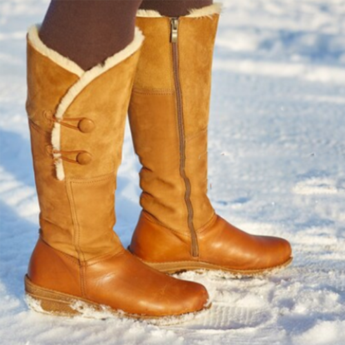 Womens Plus Size Button Outdoor Suede snow Boots