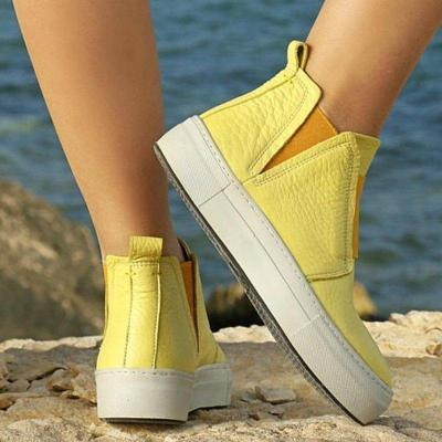 Women Round Toe Slide Casual Pu Flat Heel All Season Sneakers