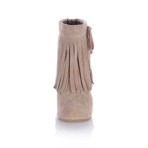 Women Knot Tassel Short Boots Plus Size Autumn and Winter Shoes 4566