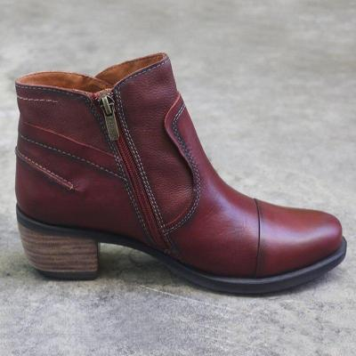 Wine Red Chunky Heel Pu Zipper Boots
