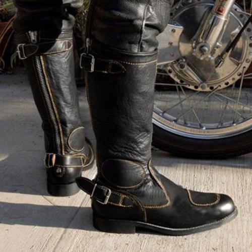 Women PU Combat Boots Zipper Casual Winter Chunky Heel Shoes