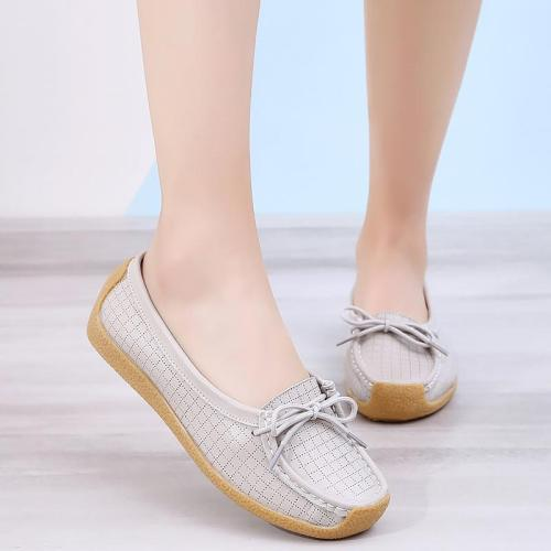 Women Flat Shoes Fashion Gingham Solid Comfortable Loafers Women TPR Sewing Non Slip Genuine Leather Shoes Female