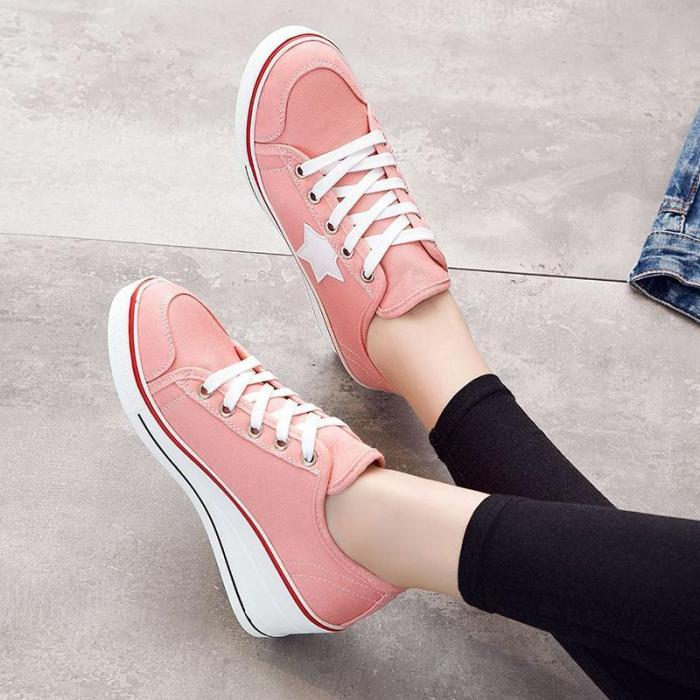 Plus Size Lace-up Canvas Shoes Athletic Wedge Heel Sneakers