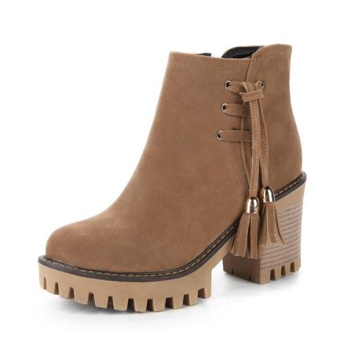 Women Shoes Tassel High-heeled Platform Short Boots