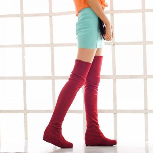 Elastic Over the Knee Boots Wedge Heel for Women 7043