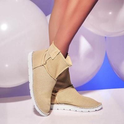 Women Round Toe Slide Hello-Out Wedge Heel Casual Pu Ankle Boots