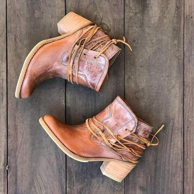 Retro Lace Up All Season Chunky Heel Ankle Boots
