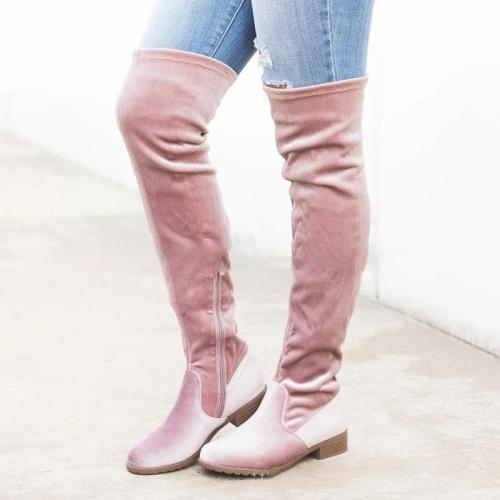 Plus Size Flocking Chunky Heel Zipper Knee Boots