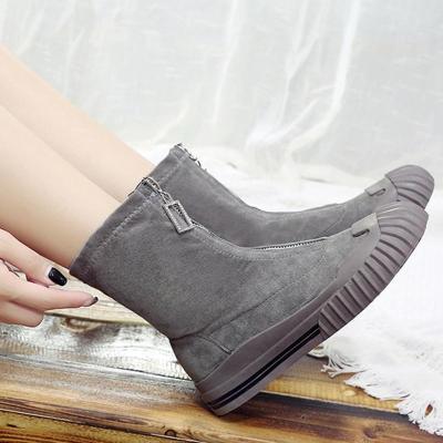 Front Zipper Flat Faux Suede Boots