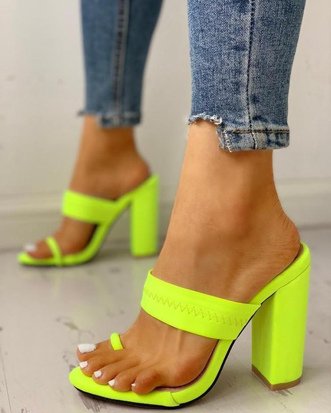 Toe Ring Single Strap Chunky Heeled Sandals