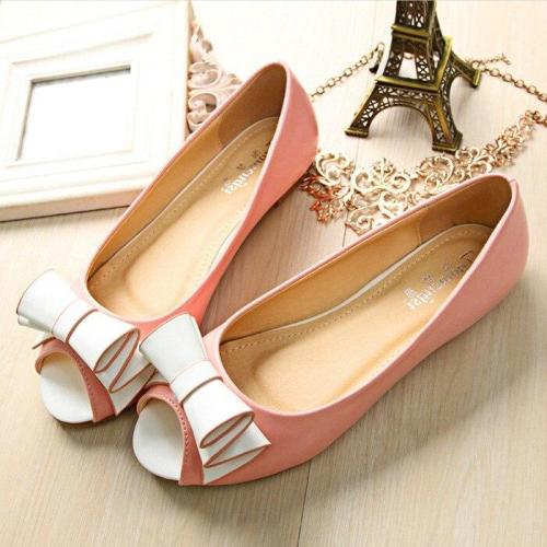 2019 New Korean Women's Single Shoes Shallow Mouth PU Bow Flat Slip On Pregnant Peep Toe Fashion Ladies Shoes YX0034