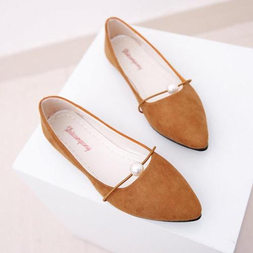 YOUYEDIAN 2019 Women Flat Shoes Solid Pearl Women Boat Shoes Spring Autumn Flat Shoes Women Pointed Toe Casual Flats