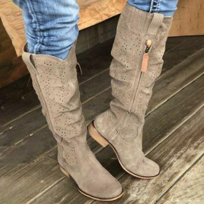 Taupe Low Heel Zipper Artificial Leather Knee-High Boots