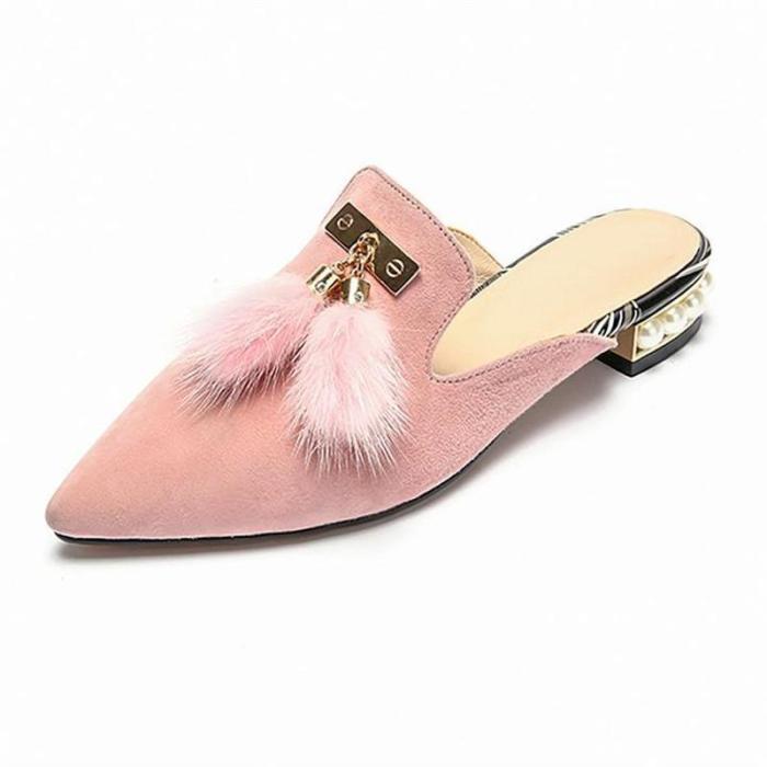 Sweet Pearl Hairy Baotou Slippers