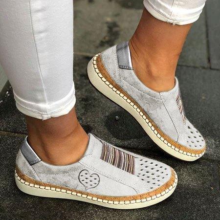 All Season Pu Flat Heel Sneakers