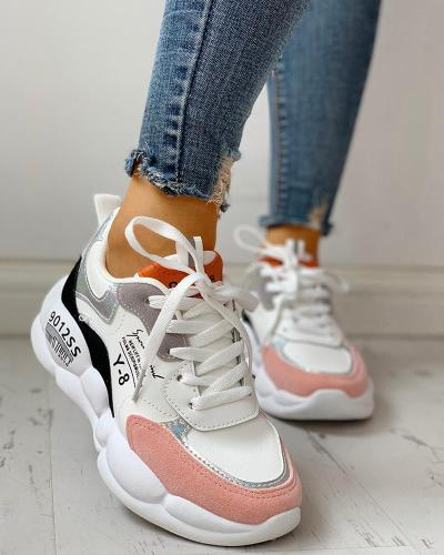 Colorblock Lace-Up Muffin Casual Sneakers