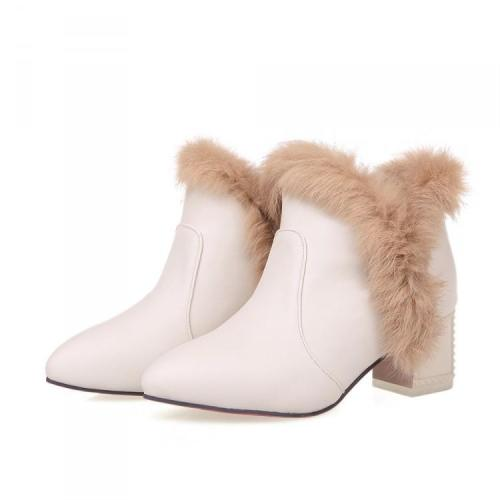 Pointed Toe Rabbit Fur Short Boots Plus Size Women Shoes 6487