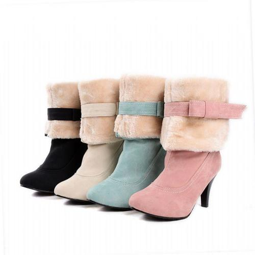 Knot High Heels Short Snow Boots Plus Size Women Shoes 2151