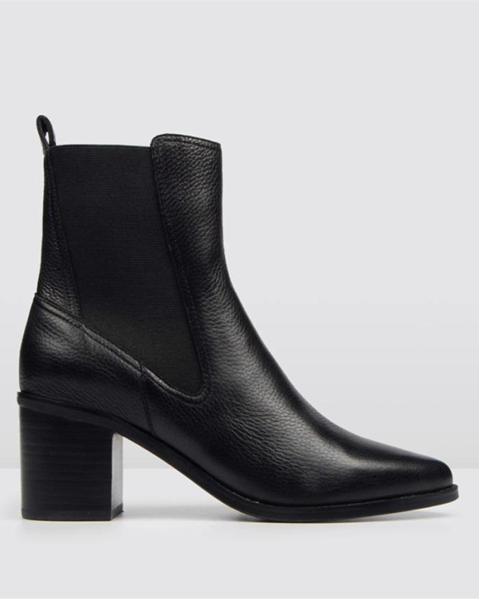 Solid High Heeled Chunky Ankle Boots