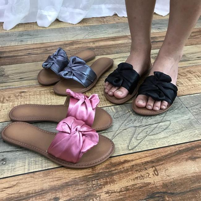 Summer Bowknot Flat Heel Slippers