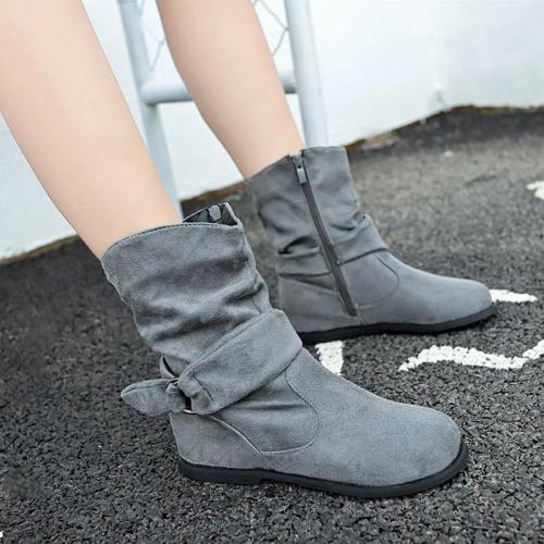 Casual Side Zipper Boots Plus Size Inside Heel Short Boots
