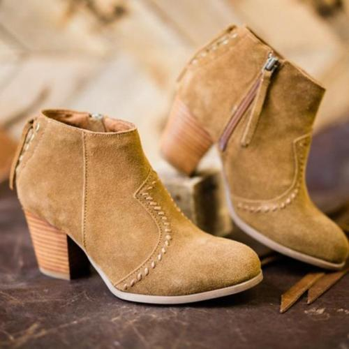 Plus Size Nubuck Side Zipper Chunky Heel Ankle Booties