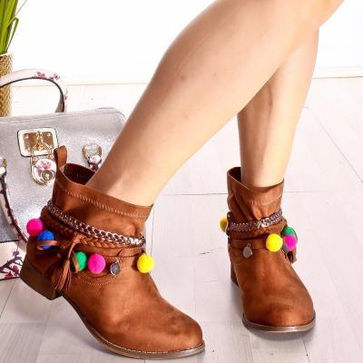 Plus Size Tassel Boho Suede Flat Heel Ankle Boots