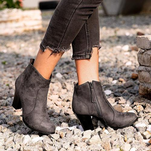 Winter Chunky Heel Working Suede Zipper Boot