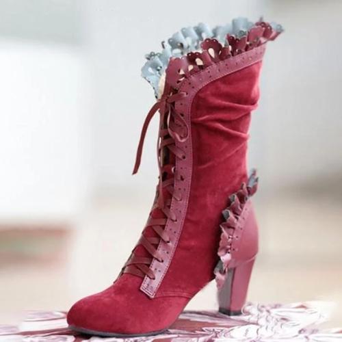 Vintage Elegant Flower Trim Lace-Up Mid-Calf Boots