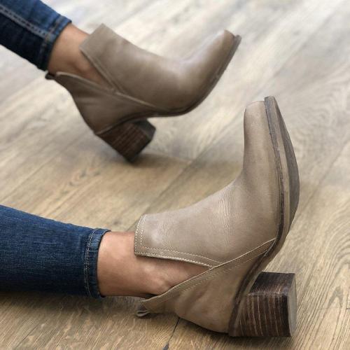 Women's Stylish Block Heel Ankle Booties Slip-On Vintage Boots