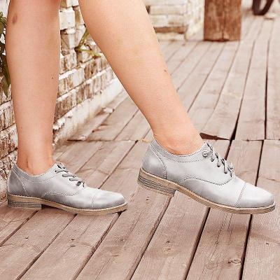 Artificial Leather Low Heel Oxford Lace-Up Loafers