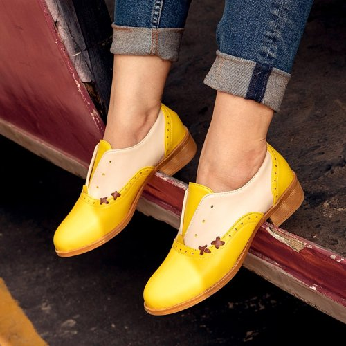 Yellow All Season Pu Loafers