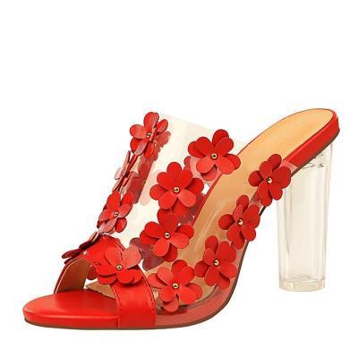 Spring/Summer Chunky Heel Open Toe Slippers