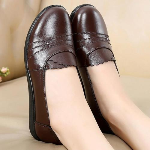 Plus Size 41/42 Female Flats Genuine Leather Shoes Mom Loafers Casual Shoes Women Loafers Slip On Shoes For Woman Black Flats