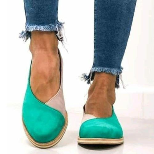 Women All Season Vintage Color Block Loafers