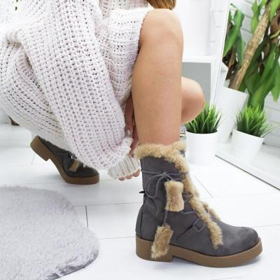 Women Round Toe Cotton Artificial Suede Lace-Up Snow Boots