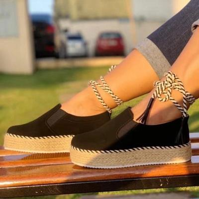 Casual decussated lace-up round-toed flat loafers