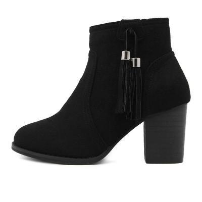 Tassel Suede Zip Chunky Heel Ankle Boots 9231
