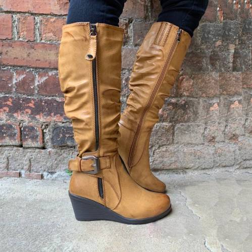Women Fall Faux Leather Wedge Heel Boots